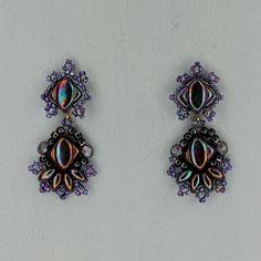 Ohrringe violet-holografisch Silkybeads Glasperlen