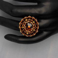 Ring braun-gold Swarovski rivoli Miyuki