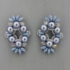 Ohrringe metalic hellblau-weiß-silber  Cabochon Duo