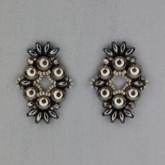 Ohrringe hematite-grau Cabochon Duo