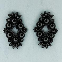 Ohrringe schwarz Cabochon Duo