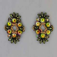 Ohrringe  metalic grün-gold-olive Cabochon Duo