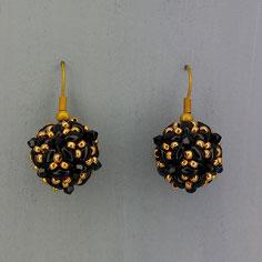 Ohrringe schwarz-gold Duo Swarovski