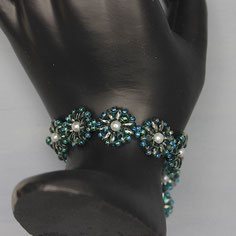 Armband dunkelgrün-weiß Miyuki Duo