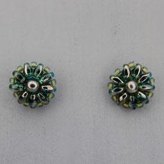 Ohrringe tannengrün-grau Duo Rocailles