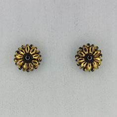 Ohrringe gold-schwarz Duo Rocailles