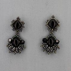 Ohrringe schwarz-hematite Silkybeads Glasperlen