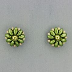 Ohrringe metallic grasgrün Duo Rocailles