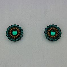 Ohrringe blaugrün-altgold Miyuki Swarovski