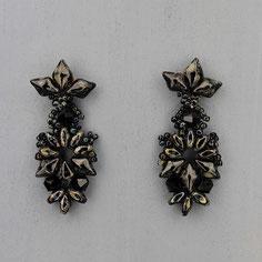 Ohrringe schwarz-hematite-marmor Gemstone Duo Glasperlen