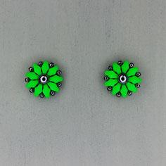 Ohrringe neon grün-grau Duo Rocailles
