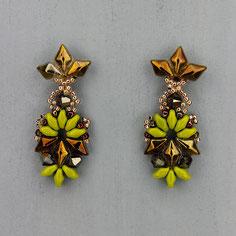 Ohrringe grün-bronze Gemstone Duo Glasperlen