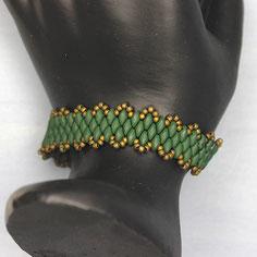 Armband Dunkelgrün-bronze Miyuki Duo
