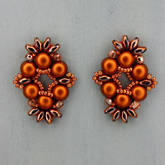 Ohrringe rotbraun-roségold Cabochon Duo