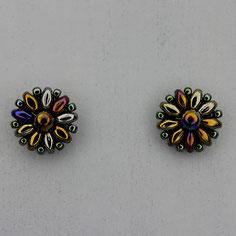 Ohrringe metallic grün-blau-grau Duo Rocailles