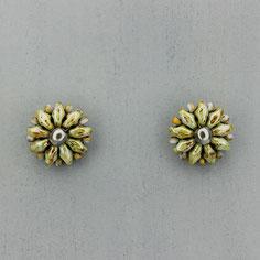 Ohrringe marmor grün-grau Duo Rocailles