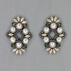Ohrringe metallic silber-grau Cabochon Duo