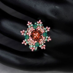 Ring grün-rosa Swarovski Chaton Miyuki