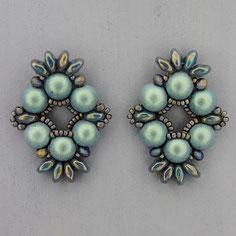 Ohrringe metallic grau-blau-grün  Cabochon Duo