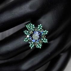Ring blau-grün Swarovski Chaton Miyuki