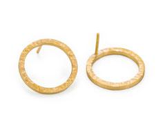 Ohrringe gehämmert, silber vergoldet, goldplattiert, Ohrstecker rund, Schmuckdesign Düsseldorf, Designerschmuck Germany, Jewelry, handgefertigt