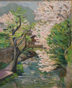 近江の桜 油彩15号