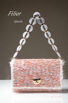 Epauleエポール ハンドメイドバッグ オリジナルバッグ セレモニー ネット編み付けバッグFilierフィリエ ディプロマ講座課題作品