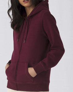 B&C QUEEN Zipped Hooded /women bedrucken