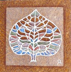 feuille en pierre de cunes de murat émaillée
