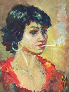 "Hworost Maria, ""Maria (Selbstportrait)"", Öl auf Leinwand, 40 x 80 cm, 2012, gerahmt, 500 €"