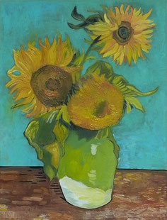 VASE WITH THREE SUNFLOWERS,  VINCENT VAN GOGH, OIL ON CANVAS, 30X40 CM