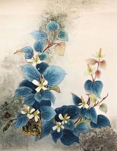 「ドクダミの花:F6 35x45」 ドクダミは普段見過ごされがちな花ですが、よく見ると可愛いです。そこに焦点を当ててみました。