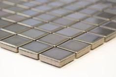 mosaico 23 mm in ceramica colore grigio lucido