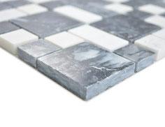 Mosaico Marmo 23/48mm Mix Nero Marquinia Bianco lucido
