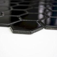 mosaico esagonale nero lucido