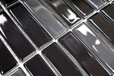 mosaico in ceramica vetro colore nero forma rettangolo lucido