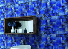 mosaico ceramica blu