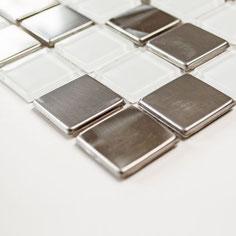 Mosaico 15mm in Alluminio Vetro Mix Glass Silver