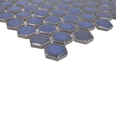 mosaico esagoni blu cobalto lucido
