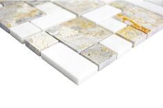 Mosaico Marmo 23/48mm Mix Grigio Bianco anticato