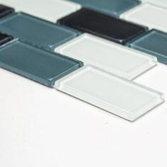 Mosaico Brick CRYSTAL GREY in vetro lucido 25x50mm