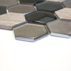 Mosaico effetto 3D Hexagon marmo vetro Grigio