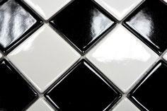 mosaico in ceramica colore bianco nero a scacchiera lucido