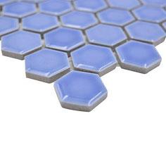 mosaico esagoni fiordaliso azzurro lucido