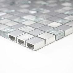 Mosaico 15mm in Alluminio Vetro Silver