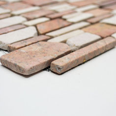 mosaico muretto marmo Biancone Rosso Verona