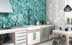 mosaico ceramica esagonale verde