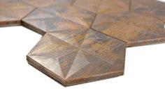 mosaico 3D esagono in metallo rame