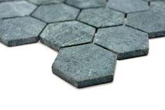 mosaico esagono in marmo verde