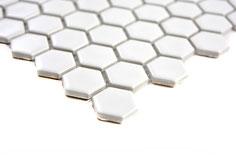 mosaico ceramica esagonale bianco